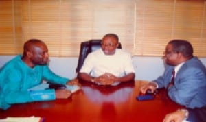 L-R: The Project Coordinator of SEEFOR Rivers State, Mr Kelcious Amos, Commissioner for Budget and Economic Planning, Mr Gogo Levi Charles, and Education Specialist with World Bank, Dr Tunde Adekola, during a meeting, last Friday. Photo: Prince Obinna Dele