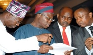 L-R: Ogun State Commissioner for Finance, Mr Seye Senfiye, Lagos State Commissioner for Finance, Mr Ayo Gbeleyi; Deputy Director, Federation Accounts, Office of the Accountant-General of the Federation, Mr Hakeem Dosumu and Accountant-General of Lagos State, Mr David Sunmoni, at the Federation Accounts Allocation Committee's meeting in Abuja, recently.