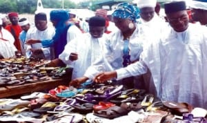 Dignitaries inspecting products from graduates of national industrial skills development programme (nisdp), at their passing out ceremony in Yola last Thursday. Photo: NAN