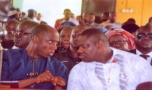 Governor of Rivers State, Rt. Hon. Chibuike Amaechi (left), conferring with his Deputy, Engr. Tele Ikuru (right), during the funeral service in honour of the former Speaker, Rivers State House of Assembly, Late Rt. Hon. Tonye Harry, at St Alban's Anglican Church, Obuama recently. Photo: Chris Monyanaga