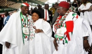Dame Patience Jonathan (middle), with her husband (left) and PDP National Chairman, Alhaji Bamanga Tukur, during a public function in Abuja, recently.