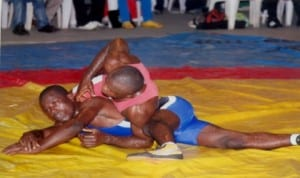 Wrestlers battling for honours during a national event in Port Harcourt, recently