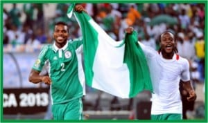 Joseph Yobo and Victor Moses celebrating Nations Cup victory, recently.