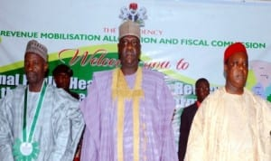 L-R: Representative of Gombe State Governor, Mr Abdulhameed Ibrahim, Deputy Governor of Bauchi State, Alhaji Sagir Saleh and Chairman, Revenue Mobilisation Allocation and Fiscal Commission, Mr Elias Mbam, at the North-East Zonal public hearing on Review of Revenue Allocation Formula in Bauchi recently. Photo NAN