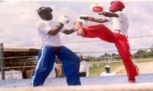 Kick boxers in action during a national tournament in Port Harcourt recently