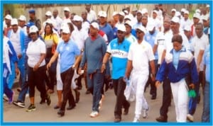 Secretary to Rivers State Government and Chairman Centenary Committee, Mr George Feyii (3rd left), Commissioner for Health, Dr Sampson Parker (4th left),  Mayor of Port Harcourt, Mr Chimbiko Akarolo (4th right), leading the Centenary Health Walk, organised by Rivers State Government in Port Harcourt, last Tuesday. Photo: Obinna Prince Dele