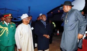 L-R: Nigeria High Commissioner to United Kingdom, Amb. Dalhatu Tafida, Minister of State for Foreign Affairs 2, Dr Nurudeen Mohammed, welcoming President Goodluck Jonathan at the Luton International Airport, United Kingdom, last Wednesday. Photo: NAN