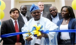 L-R: Operations Director, British American Tobacco Nigeria, Mr Fransisco Toso, Governor Abiola Ajimobi of Oyo State and Human Resources Manager, Mrs Jumoke Fagbemi, at the inauguration of British American Tobacco Nigeria's Recreation Centre in Ibadan, last Wednesday.