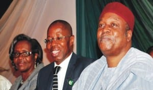 L-R: Director-General, National Environmental Standards and Regulations Enforcement Agency, Dr Ngeri Banabo, Permanent Secretary, Ministry of Environment, Mr Taye Haruna and the suppervising Minister, Mr Darius Ishaku, at the inauguration of the governing boards of agencies and parastatals under the Ministry of Environment in Abuja, recently. Photo: NAN