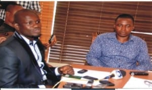 Manager, Governor  Chibuike Rotimi Amaechi Football Club of Nyokhana, Mr Salvation Moses (left), with Deputy Speaker, Rivers State House of Assembly, Hon Leyii Kwanee, at a press briefing in Port Harcourt, last Monday. Photo: Chris Monyanaga.