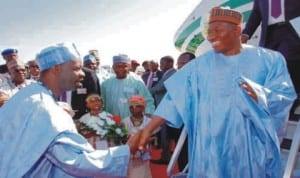 President Goodluck Jonathan (right), being received by Governor Ibrahim Dankwambo of Gombe State on his arrival for the 2nd North-East Economic Summit in Gombe,  yesterday .
