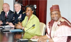 L-R: UU Ambassador to Nigeria, Mr James Entwistle, Commander, UU Africa Command (USAFRICOM), Gen. David Rodriguez, US Secretary for the  Bureau of African Affairs, Linda Thomas-Greenfield and Vice President Namadi Sambo, during a meeting at the Presidential Villa in Abuja, last Wednesday.