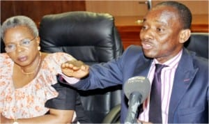 Chairman, Nigerian Electricity Regulatory Commission (NERC), Dr Sam Amadi (right), with Commissioner, Engineering Standards and Safety,  NERC, Mrs Mary Awolokun, during a news conference on Non-Increase of Electricity Tariff in Abuja last Wednesday.