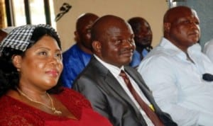 L-R: President of NULGE in Enugu State, Comrade Lofa Aneke, outgoing Chairman, Udenu Local Government Area of Enugu State, Dr Godwin Abonyi and PDP Chairman, Udenu LGA, Chief Emma Chima, during a send  off/church service for the Chairman at Udenu, Enugu State, recently.