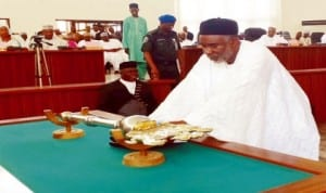 Governor Murtala Nyako of Adamawa State, placing the 2014 Budget proposal before the State House of Assembly in Yola, last Friday.