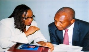 Mrs Daniel-Kalio Blessing, GM Business Development RSSDA (left) chating with Mr Kalada Apiaf during the 29th annual general meeting of Manufacturer Assoication of Nigeria in Port Harcourt, recently