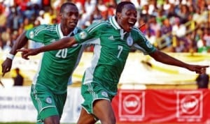 Super Eagles Ahmed Musa (7) and teammate celebrating a goal during the 2014 World Cup qualifiers.