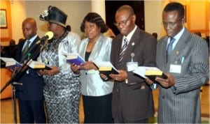Cross-section of newly appointed Permanent Secretaries taking oath of office during their swearing-in ceremony in Government House, Port Harcourt, last Wednesday.