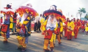 Masquerades displaying in Port Harcourt