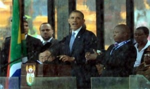 President Barack Obama of United States (middle), addressing the crowd during the Memorial Service in honour of Late Nelson Mandela last Tuesday.