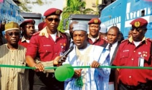 L-R: Unit Manager, Ministry of Works, Mr Mohammed Isa, frsc  Corps Marshal, Mr Osita Chidoka, representative of the Minister of Works, Mr Abubakar Mohammed, and the  Deputy Corps Marshal, Mr Boboye Oyeyemi, at the handover of heavy duty trucks and patrol vehicles by the Minister of Works to frsc, in Abuja, recently. Photo: NAN