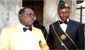 Port Harcourt Grand President, Brig. Gen. George Ikioumoton (left) with Director, Business Development, Rivers State Newspaper Corporation, Mr Valentine Ugboma, during the Thanksgiving Service of newly inducted Knights of St. John International at St. Mary Commandery, Atali, Port Harcourt, yesterday.