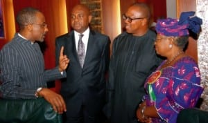 L-R: Cbn Governor, Malam Sanusi Lamido Sanusi, Deputy Governor, Mr Kingsley Moghalu, Governor Peter Obi of Anambra State and Minister of Finance, Dr Ngozi Okonjo-Iweala, at a meeting of the Economic Management Team in Abuja last Monday. Photo: NAN