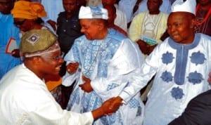 L-R: Governor  Abiola Ajimobi of Oyo State, Alafin of Oyo, Oba Lamidi Adeyemi 111 and Aare Musulumi of Yorubaland, Alhaji Abdulazeez  Arisekola-alao, at a reception to mark Governor Ajimobi's 64th birthday in Ibadan last Monday. Photo: NAN
