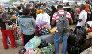 Passengers travelling for Christmas at Wazobia Park, Gwagwalada in Abuja, last Monday