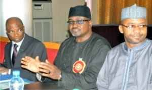 L-R: Permanent Secretary, Ministry of Mines and Steel Development, Mr John Jegede, Minister, Mr Musa Sada and Chairman, House Committee on Solid Minerals, Rep. Isa Hassan, at the Media Round Table on  review of Ministry of Mines and Steel Development Road-map in Abuja last Monday.