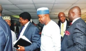 Chairman, House of Representatives Committee on Banking and  Currency, Rep. Jones Onyereri (right), discussing with NDIC ED (Operations), Prince Aghatise Erediauwa (2nd right) and others during the arrival of the committee's oversight visit to NDIC Lagos Office recently. Photo: NAN