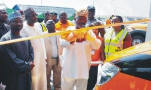 Director General, National Emergency Management Agency (NEMA), Muhammad Sidi, representative of Minister of FCT, Mr Ahmed Inuwa, representative of Director, Development Control, Mr Adamu Garba and Chairman, House of Representatives Committee on Emergency and Disaster Preparedness, Rep. Abegunde Ifedayo, at the inauguration of NEMA's Emergency Response/Ambulance Bay on Airport Road in Abuja, last Monday.
