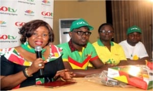 Mrs. Elizabeth Amkpa, General Manager, GOTV Nigeria (left) with other staff during the launch of GOTV in Calabar.