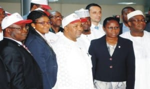 L-R: Coordinating Director, Field Operations Group, Federal Inland Revenue Service (FIRS), Mr Julius Bamidele, Director, Programme Management, Non-Tax Office, Chiaka Okoye, Acting FIRS Chairman, Alhaji Kabir Mashi, Director, Large Tax Department (Oil and Gas), Lola Adediran and Coordinating Director, Standards and Compliance Group, Sunday Ogengbesan, at the inauguration of integrated Tax Administration System (ITAS) in Abuja, recently. Photo: NAN