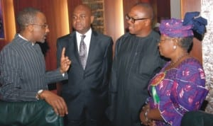 L-R: Governor of Central Bank of Nigeria, Malam Sanusi Lamido, Deputy Governor, Mr Kingsley Moghalu, Governor Peter Obi of Anambra State and the Minister of Finance, Dr Ngozi Okonjo-Iweala, at a meeting of the Economic Management Team in Abuja, last Monday.