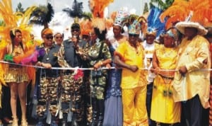 Governor Liyel Imoke of Cross River (3rd left) inaugurating the adult session of Calabar Carnival 2013 in Calabar, last Friday.