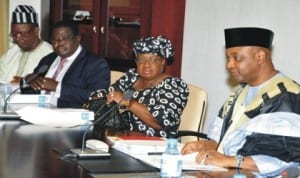 L-R: Minister of State for Trade and Investment, Mr Sam Ortom, Director, Legal Drafting, Ministry of Justice, Mr Tahir Aminu, Minister of Finance, Dr Ngozi Okonjo-Iweala and Vice President Namadi Sambo, at a meeting of the National Council on Privatisation at the Presidential Villa in Abuja, recently.