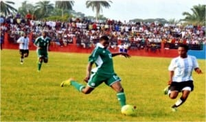 Action recorded during the Gokana United Versus Super Eagles friendly match following inauguration of the Gokana Central Stadium, first stadium to be built by a Local Government Council in Nigeria. Photo: Chris Monyanaga