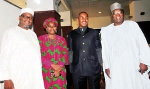 L-R: Former Governor of Bauchi State, Senator Adamu Muazu; Minister of Water Resources, Mrs Sarah Ochekpe; Executive Secretary, Nigerian Christian Pilgrims Commission, Mr Johnkennedy Opara and Commissioner, National Salaries, Incomes and Wages Commission, Ambassador Abdullahi  Bage, during arrival of the last batch of Christian pilgrims in Abuja, last Friday. Photo: NAN