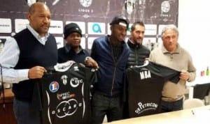 Sunday Mba (3rd right) being unveiled by Bastia at the weekend