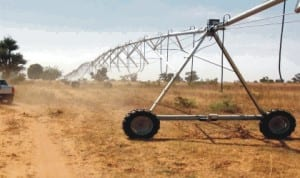 One of the Centre Pivot Irrigation Equipment being installed by an American agro firm at a farm site on Maiduguri-Kondaga Road under the Borno State agricultural transformation programme last  Monday. The unit moves in circle to water crops in dry season.                                      Photo: NAN