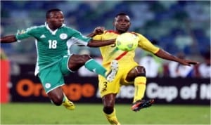 Ejike Uzoenyi (18) in action against the Walya Antelopes of Ethiopia in a friendly last weekend in Abuja