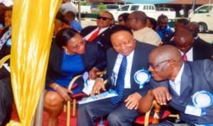 Head of Service of Rivers State, Barr. Samuel LongJohn (right), with Secretary to Rivers State Government, Hon. George Feyii (middle), and Administrator, Greater Port Harcourt City Development Authority, Dame Aleruchi Cookey-Gam, during the New Year prayer/dedication service organised for civil servants in the State in Port Harcourt last Wednesday. Photo: Chris Monyanaga