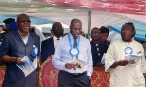 Rivers State Governor, Rt Hon Chibuike Amaechi,(middle), Head of Civil Service, Barrister Samuel LongJohn (left), and Chairman Civil Service Commission, Sir Ngo Martyns-Yellowe at the prayer/ dedication service of Rivers State Civil Service in Port Harcourt, last Wednesday. Photo Chris Monynanga