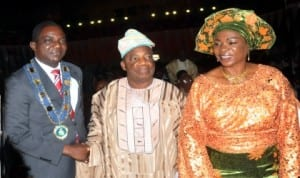 From Left: NSE President and Chairman in Council, Mr Ademola Olorunfemi, Ondo State Deputy Governor, Alhaji Ali Adelusi and his wife, Bejide during the inauguration of the 29th National President of Nigerian Society of Engineers (NSE) in Abuja last Saturday. Photo: NAN