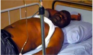 Senator Magnus Abe in   critical condition at the emergency unit of Kelsey Harrison Specialist Hospital, after the police attack at the Save Rivers Movement rally in Port Harcourt, yesterday.