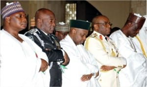 L-R:  Minister of Special Duties, Tanimu Turaki, IGP Mohammed Abubakar, Vice President Namadi Sambo, Chief of Defence Staff, Admiral Ola Ibrahim and Permanent Secretary, Alhaji Aliyu Numan, during a special Juma'at prayer for Armed Forces Remembrance Day in Abuja, last Friday