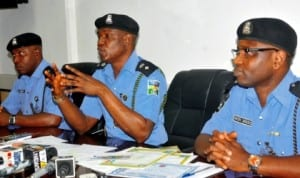 L-R: Assistant Force Public Relation Officer, sp Seji Ezegam; Force Public Relation Officer, csp Frank Mba and Deputy Force Public Relation Officer, sp Abayomi Shogunle, addressing a  news conference on the arrest of alleged fake recruitment syndicate in Abuja, last Friday. Photo: NAN