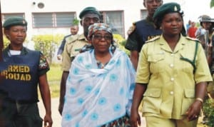 Former Oyo State Head of Service, Alhaja Kudirat Adeleke (middle), coming out of the State High Court on alleged pension fraud case in Ibadan last Friday.