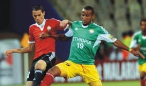 Libyan and Ethiopian players in contest at the ongoing 2014 CHAN in South Africa